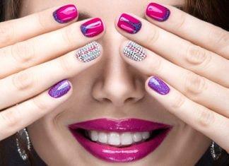 Piękne, kolorowe modne paznokcie